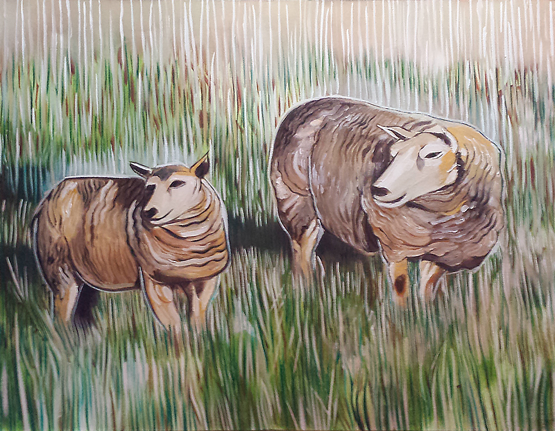 Two-Sheep-Oil-Painting-2008